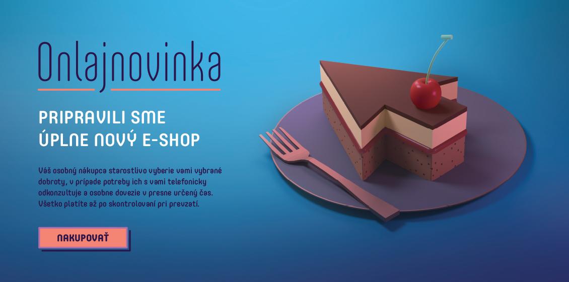Trojposchový koláč v tvare šípky na fialovom tanieri, ktorý reprezentuje onljnovinku v podobe spustenia nového e-shopu.